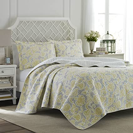 Amazon Com Laura Ashley Joy Reversible Quilt Set King Gray Home