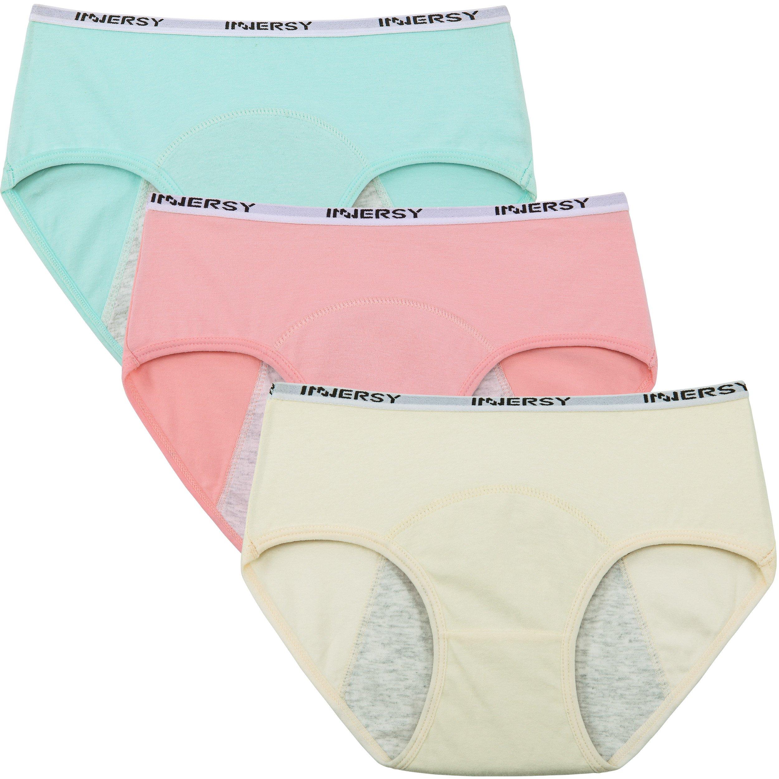 Innersy Big Girl Menstrual Period Hipster Panties Leakproof Sanitary Underwear for Teen(X-Large, Solid 1)