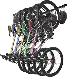 Umien Wall Mount Bike Storage Rack - Heavy Duty Bike Hanger with 5 Bikes and 5 Helmets Capacity - Space-Saving Vertical Hook Bike Rack for Home and Garage - Multi-Purpose Hanging Bicycle Rack for Wall