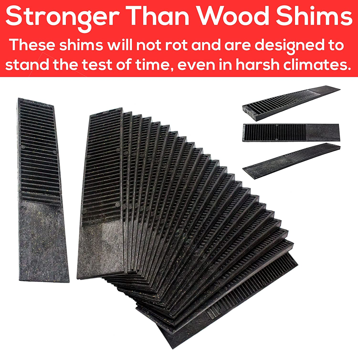 Windows Home Improvement DIY Levelers Have Extreme Weight Capacity /& Sheds. Easy to Break /& Perfect for Doors are Weather Resistant 24 Pack Pro Project Supplys Never-Rot 8 Inch Composite Shims