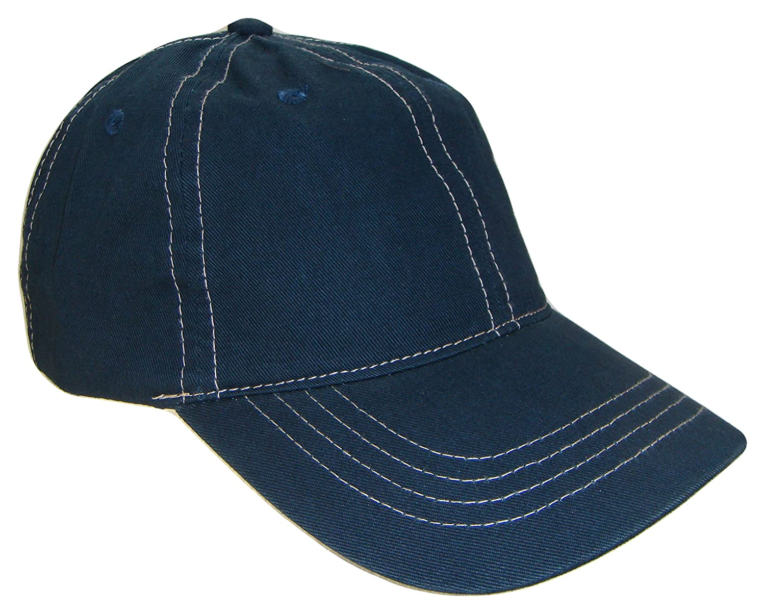 THS Adjustable Low Profile Polo Style Baseball Cap (One Size, Navy Blue/Tan)