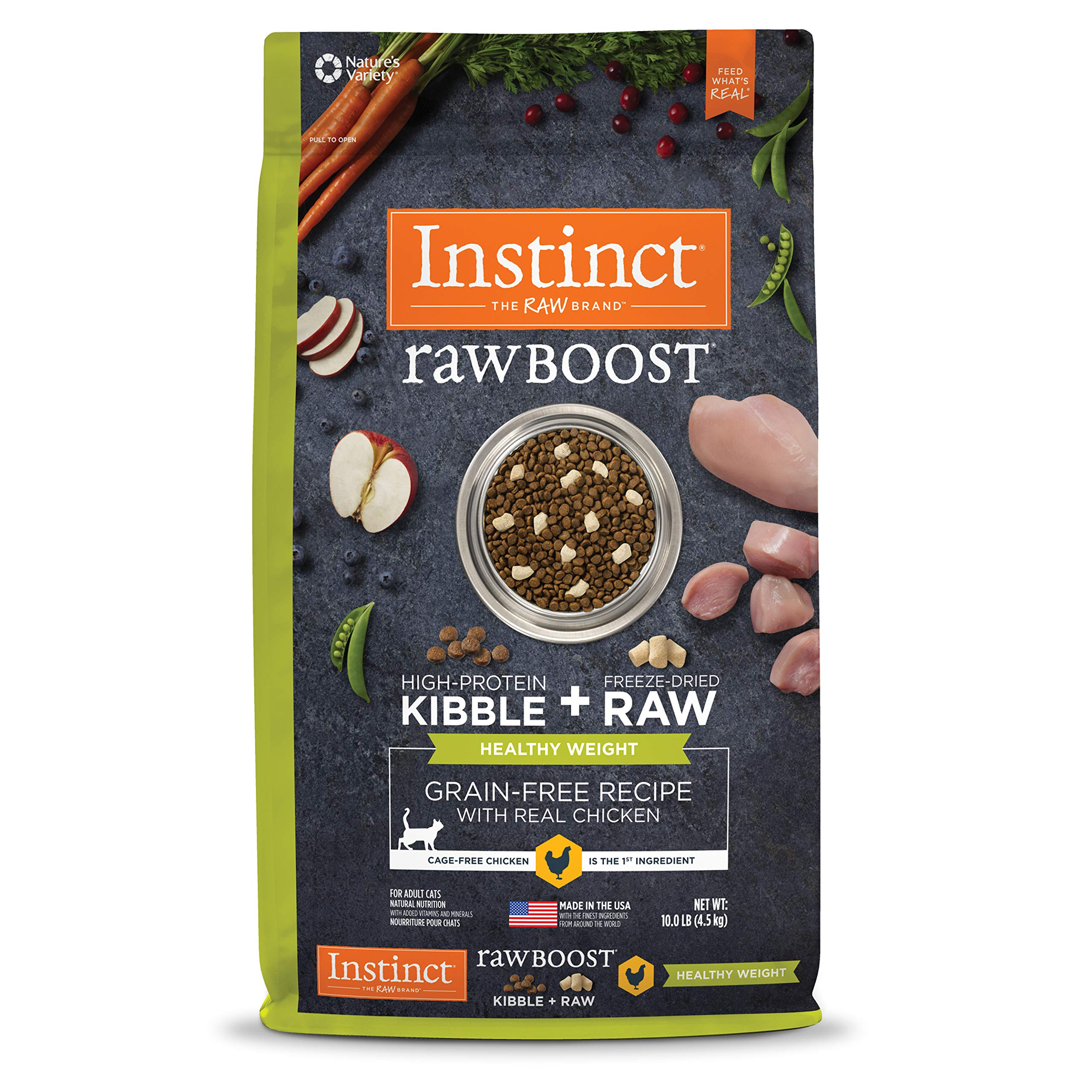 Instinct Raw Boost Healthy Weight Grain Free Recipe with Real Chicken Natural Dry Cat Food by Nature's Variety, 10 lb. Bag by Instinct