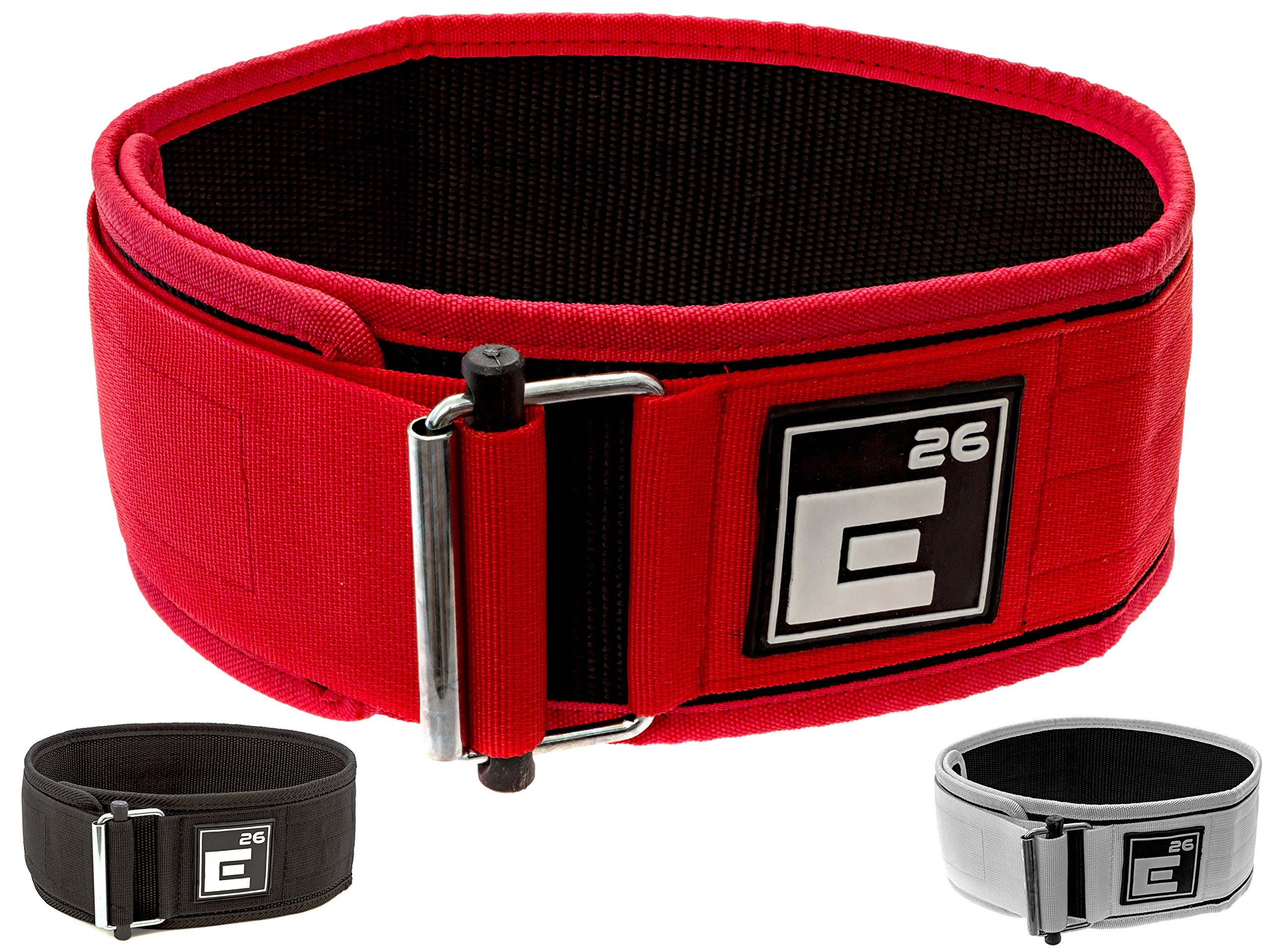 Element 26 Self-Locking Weight Lifting Belt | Premium Weightlifting Belt for Serious Crossfit, Power Lifting, and Olympic Lifting Athletes (Extra Large, Red)