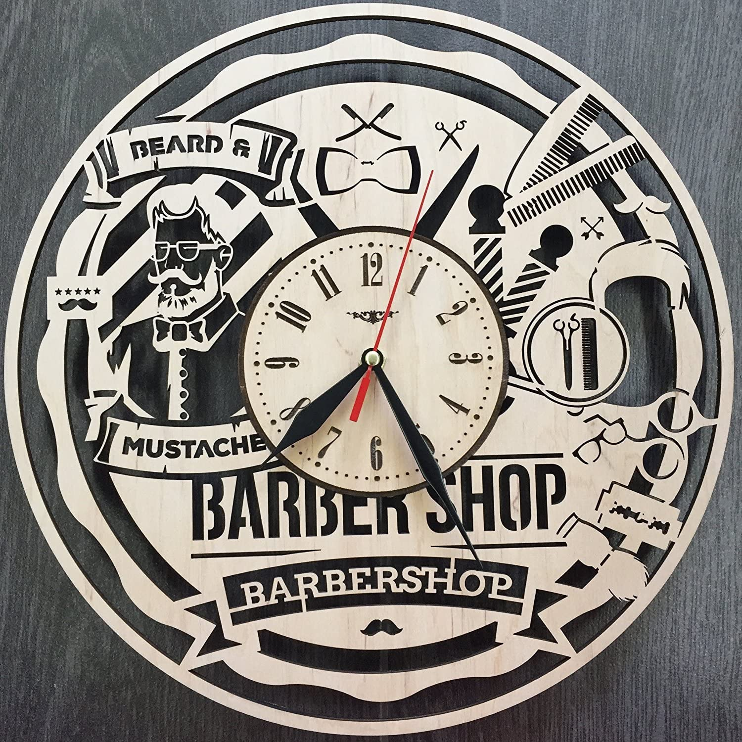 7ArtsStudio Man Style Barbershop Wall Clock Made of Wood - Perfect and Beautifully Cut - Decorate Your Home with Modern Art - Unique Gift for Him and Her - Size 12 Inches