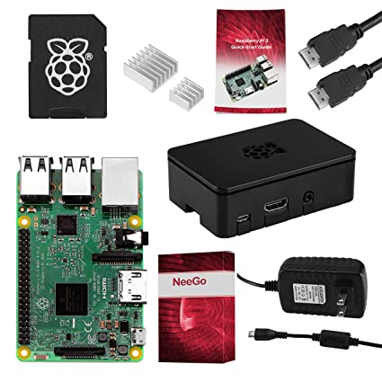 NEEGO Raspberry Pi 3 Complete Starter Kit, Black, 16GB Edition - Pi3 Model  B Barebones Computer Motherboard 64bit Quad-Core CPU 1GB RAM, Black Pi3