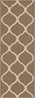 "product image for Maples Rugs Rebecca Contemporary Runner Rug Non Slip Hallway Entry Carpet [Made in USA], 1'9"" x 5', Café Brown/White"