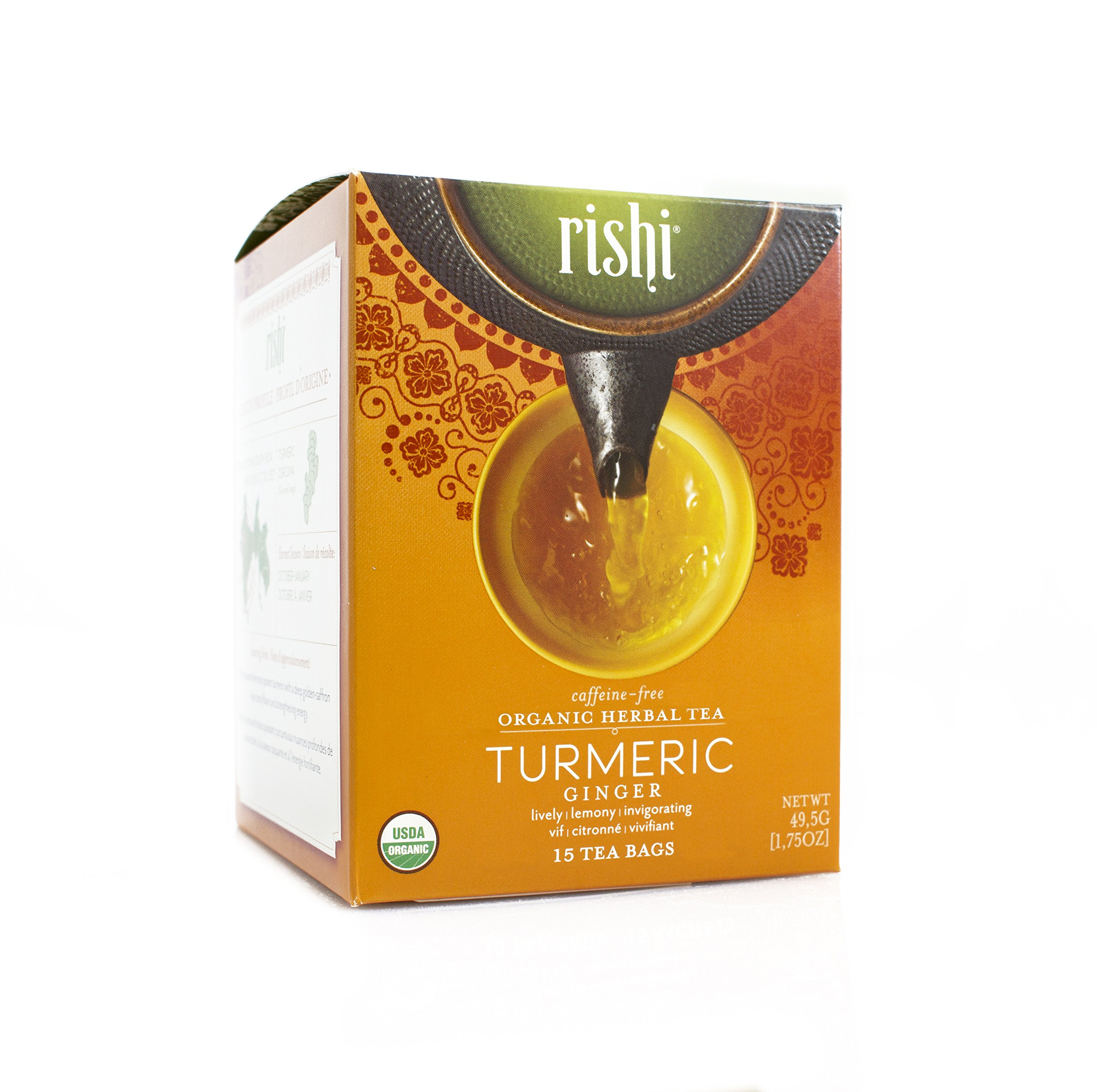 Rishi Tea Organic Turmeric Ginger Tea Bags, 15 Count  (Pack of 6) by Rishi Tea