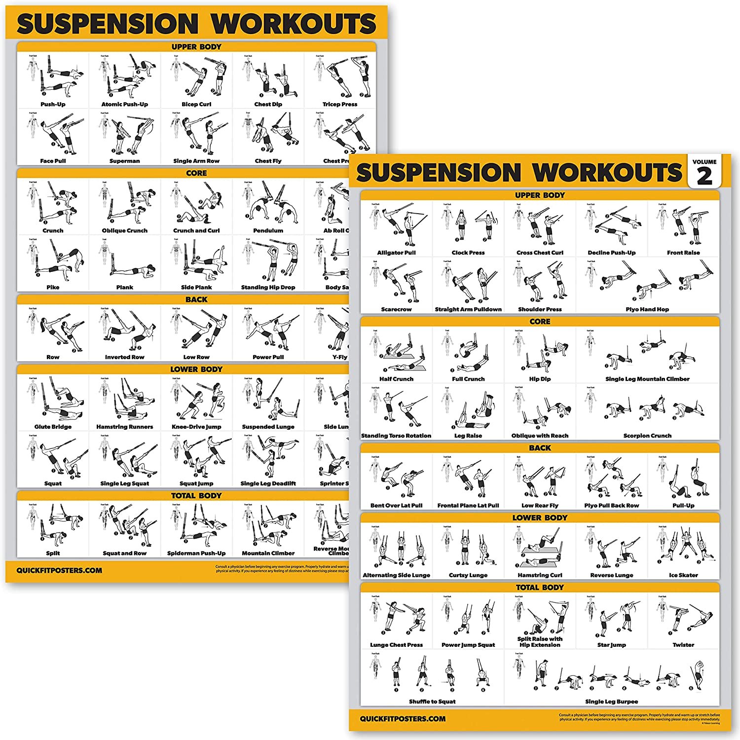 """QuickFit 2 Pack Suspension Workout Posters - Volume 1 & 2 - Laminated Exercise Charts - 18"""" x 27"""" Vol. 1 & 2"""