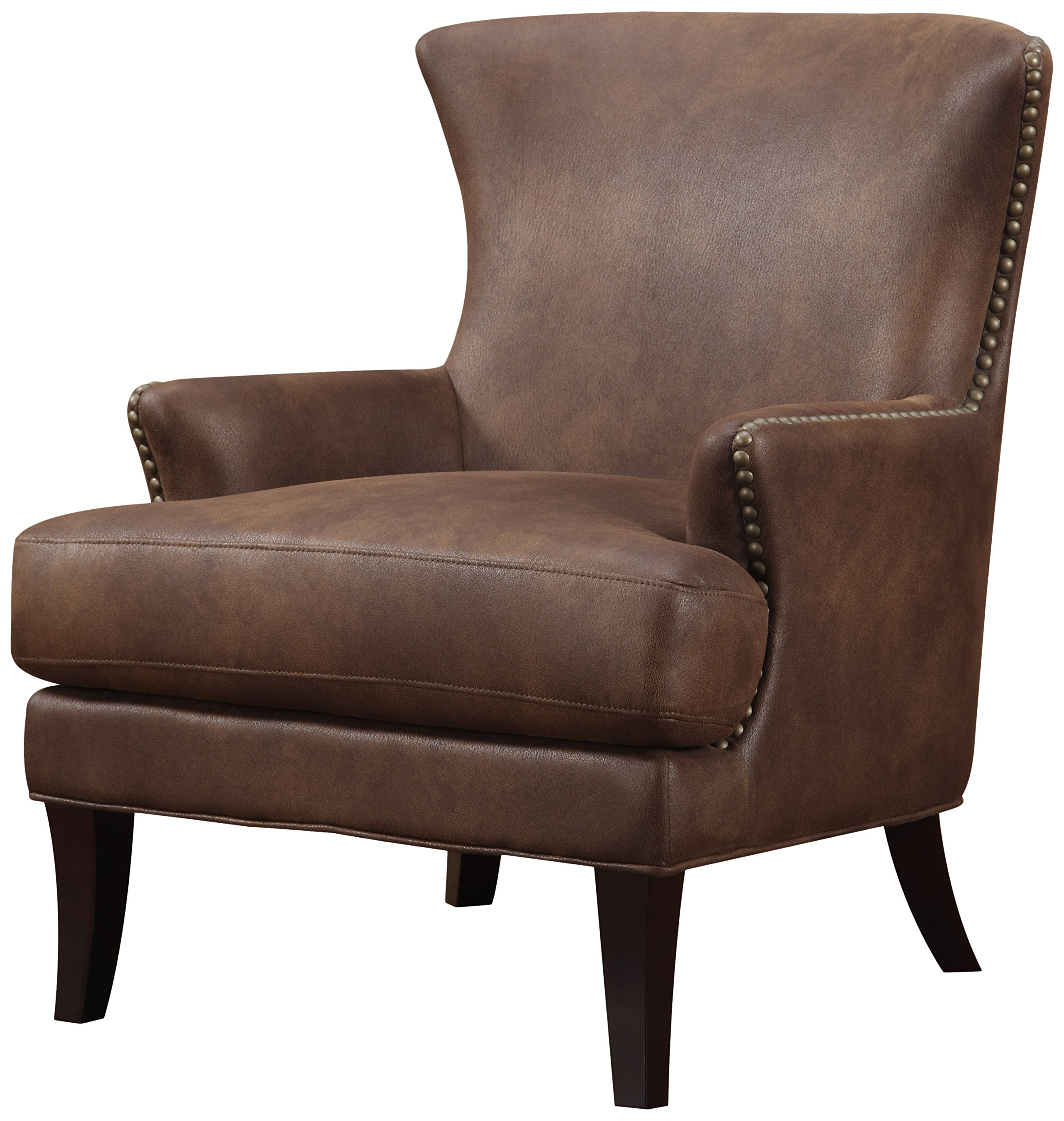 Emerald Home Brown Accent Chair with Faux Suede Upholstery and Nailhead Trim