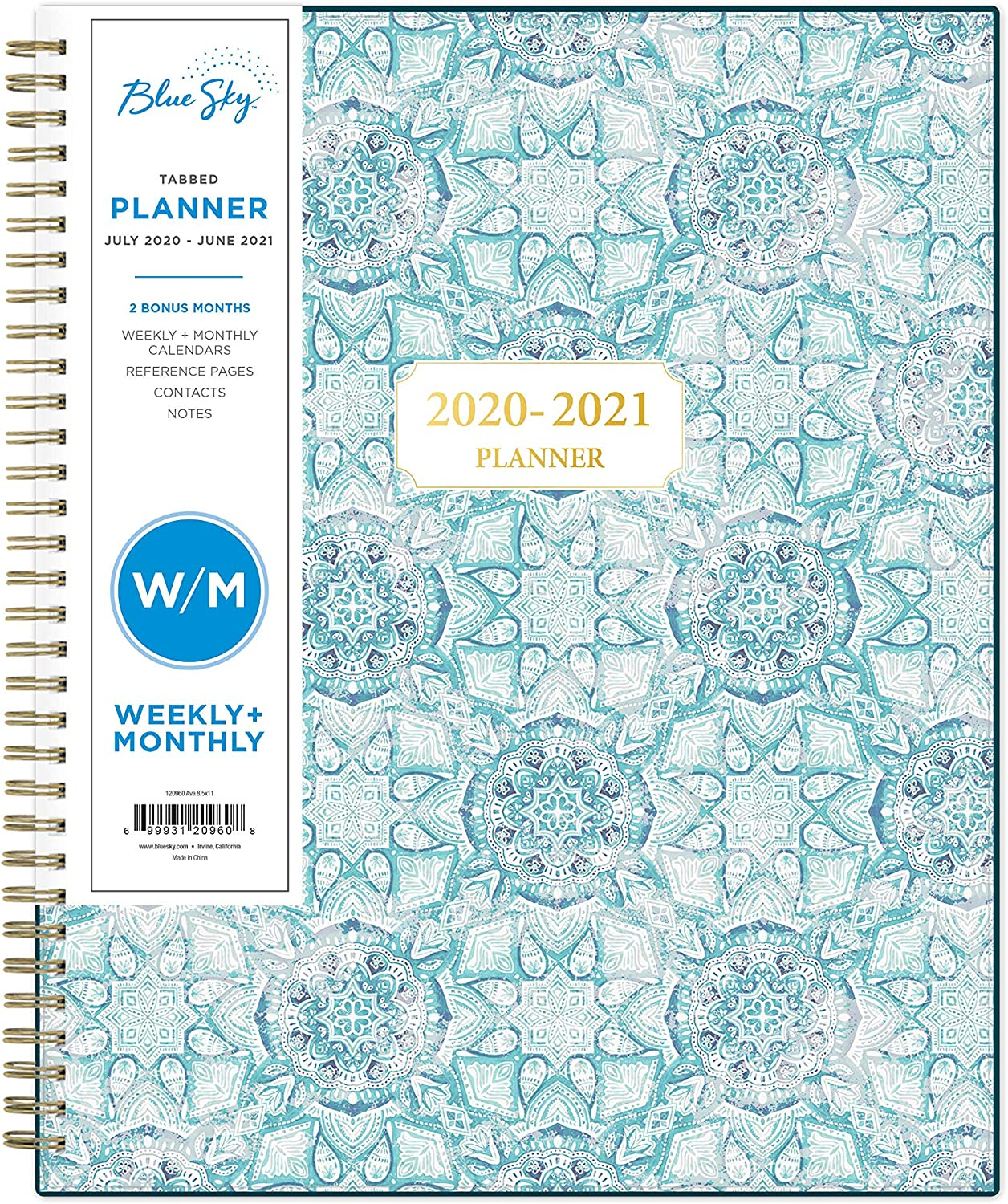 "Blue Sky 2020-2021 Academic Year Weekly & Monthly Planner, Flexible Cover, Twin-Wire Binding, 8.5"" x 11"", Ava: Office Products"