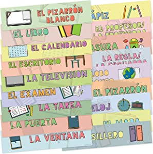 Spanish Language Labels for Common Classroom Items, Non-Adhesive, Set of 18, 12 x 3 Inches