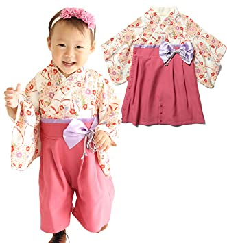 318df5239773d Sweet Mommy 袴 ロンパース ベビー 着物 カバーオール 日本製和柄ちりめん ホワイト 90