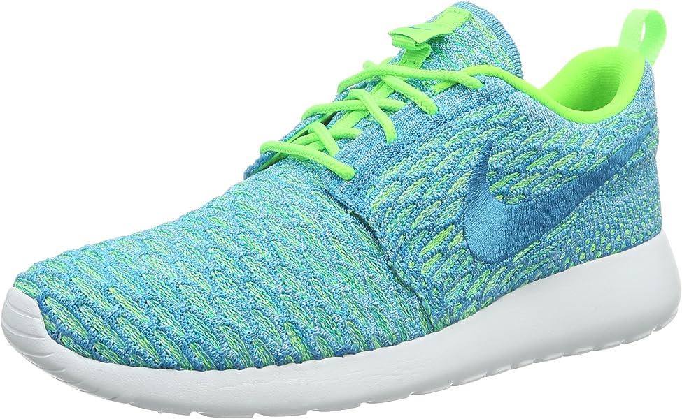 info for 65356 d37bc Nike Roshe One Flyknit, Scarpe da Ginnastica Basse Donna, Turchese  (Electric Green