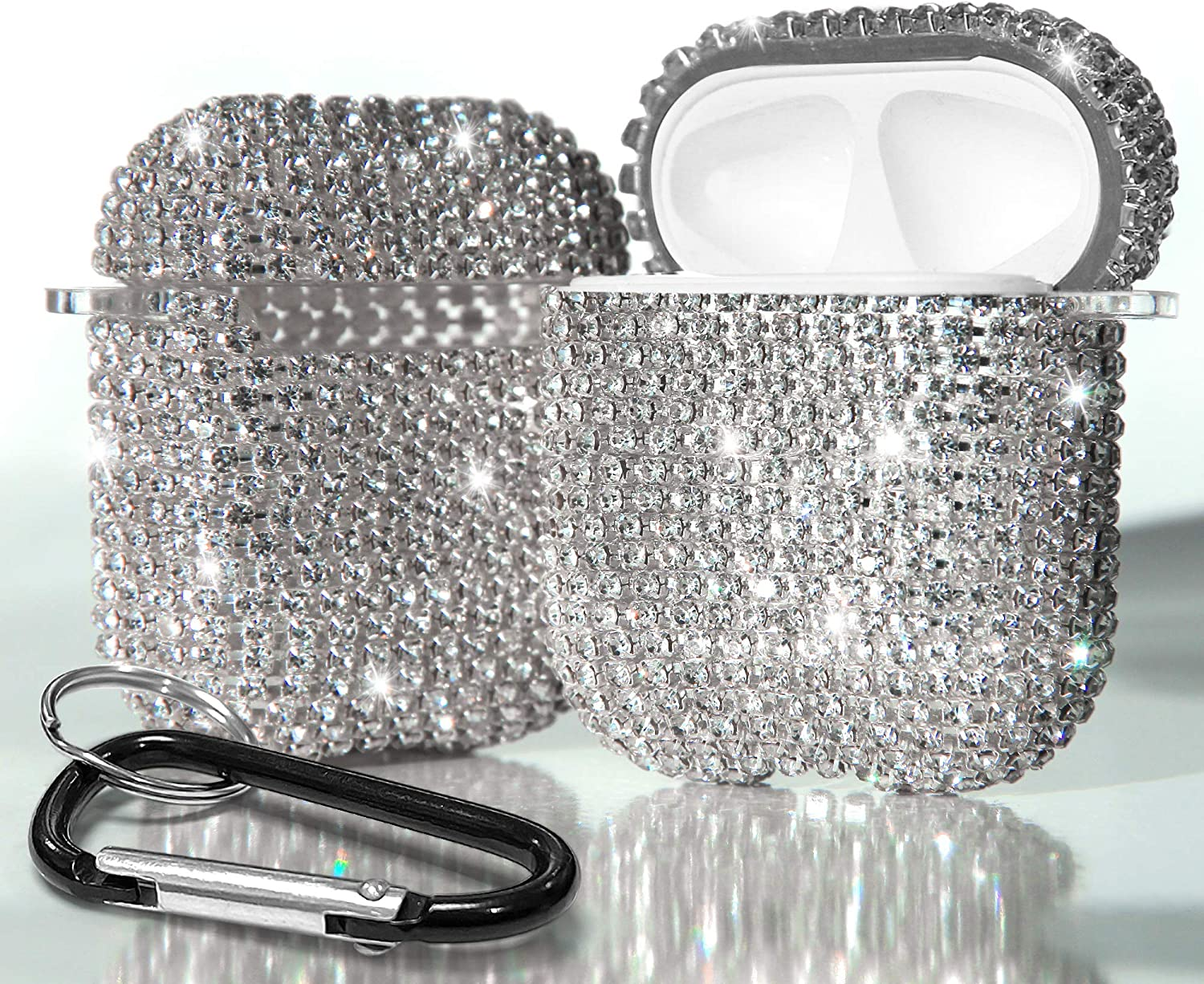 PimpCase Glitter Bling Shining Diamond Case Shock Proof Cover Compatible with Apple AirPods Case W/Keychain (Silver)