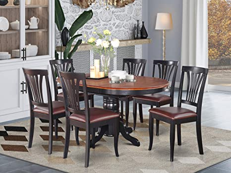 Amazon Com East West Furniture Dinette Table Set 6 Great Wooden Dining Chairs A Beautiful Round Dining Table Faux Leather Seat Cherry And Black Finnish Butterfly Leaf Round Wooden Dining Table Furniture
