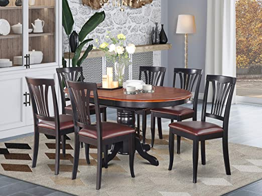 Cucina Letters Kitchen Decor, Amazon Com East West Furniture Dinette Table Set 6 Great Wooden Dining Chairs A Beautiful Round Dining Table Faux Leather Seat Cherry And Black Finnish Butterfly Leaf Round Wooden Dining Table Furniture