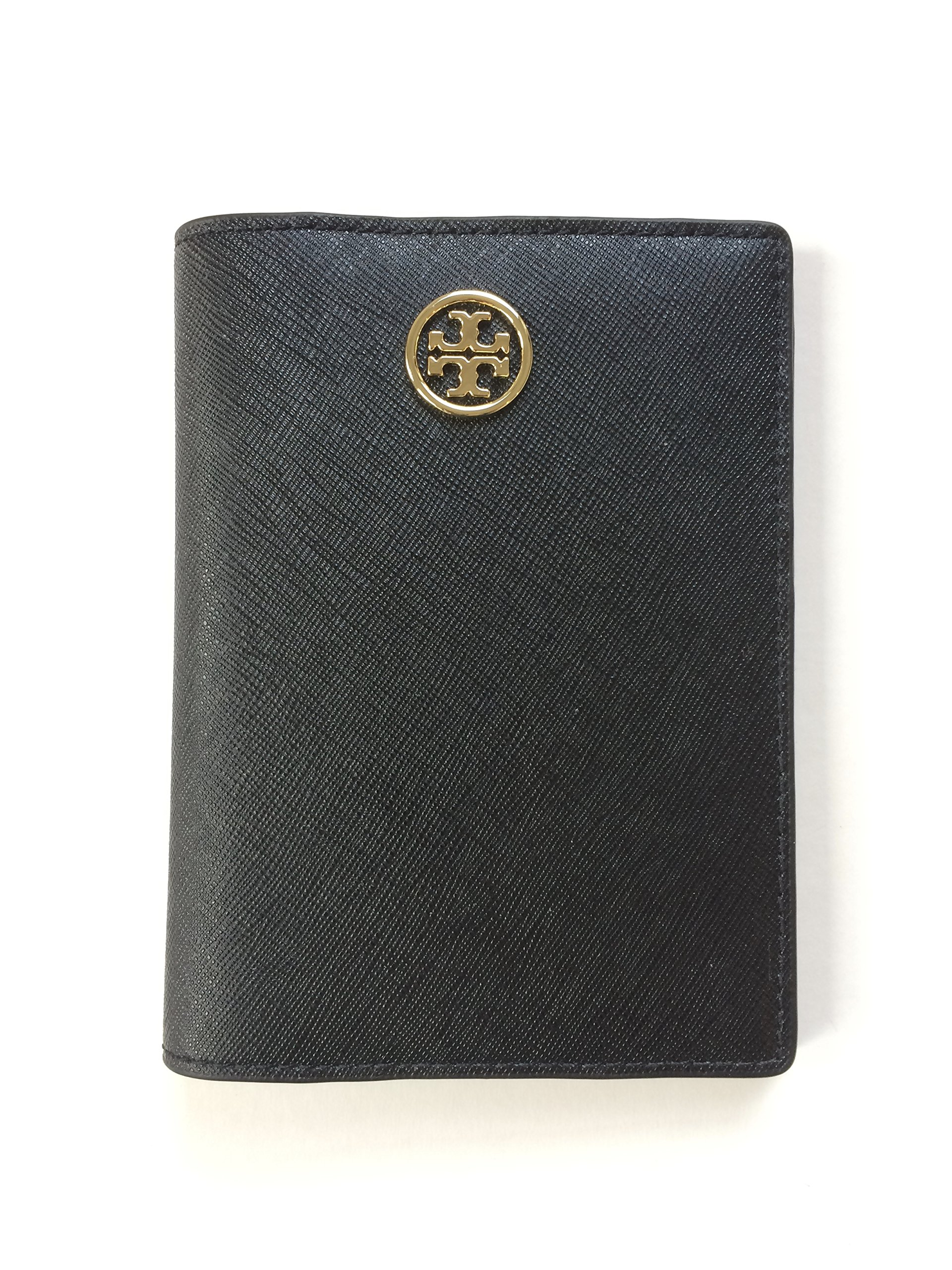 Tory Burch Robinson Passport Holder in Saffiano Leather (Black) by Tory Burch