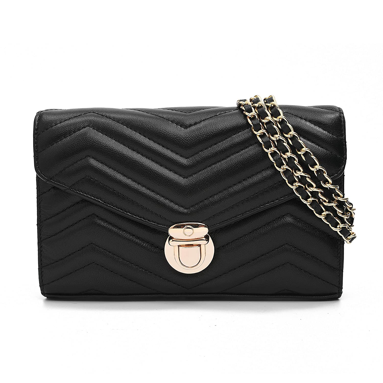 Leather Quilted Chain Purse...