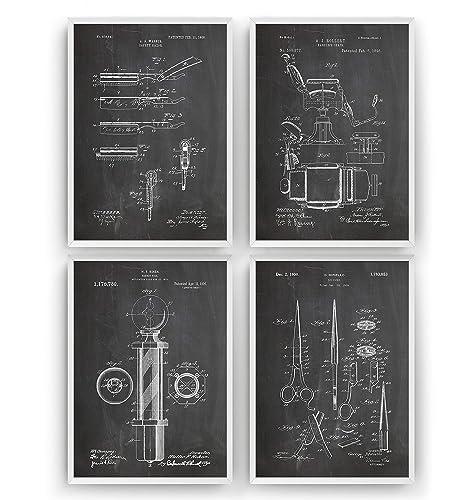 Barbiere Patent Poster - Satz von 4 - Männer Bart ...