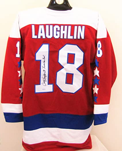 ae3bb436a Image Unavailable. Image not available for. Color  Craig Laughlin  Autographed Red Jersey - Washington Capitals ...