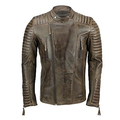 Xposed para Hombre de Piel Biker Chaqueta Antique Washed Marrón Smart Casual Vintage Slim Fit Cremallera Abrigo: Amazon.es: Ropa y accesorios
