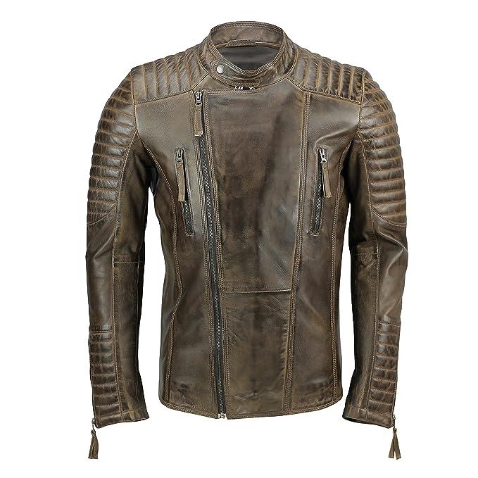 Xposed para Hombre de Piel Biker Chaqueta Antique Washed Marrón Smart Casual Vintage Slim Fit Cremallera Abrigo