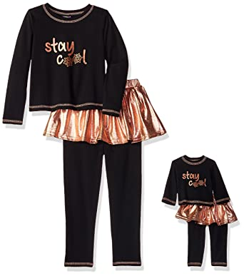 Amazon.com  Dollie   Me Girls  Big Winter Tutu Skirted Legging Set with  Matching Doll Outfit 9e3552642