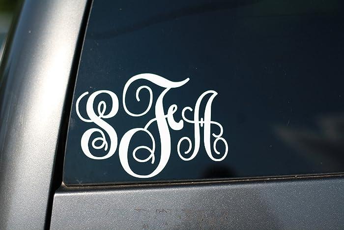 Amazoncom Monogram Car Window Decal Personalized Handmade - Monogram decal for car window