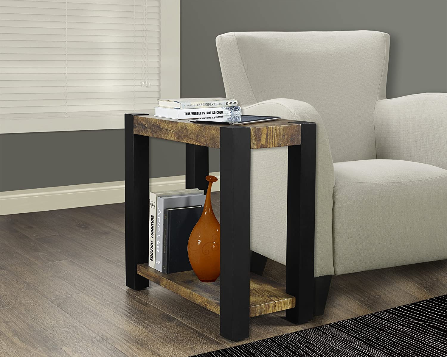 Amazon.com: Monarch Specialties Distressed Reclaimed Look/Black Accent Side  Table: Kitchen U0026 Dining