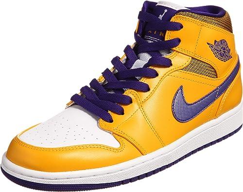 Nike Air Jordan 1 Mid Uomo Giallo Pelle Scarpa ginnastica EU ...