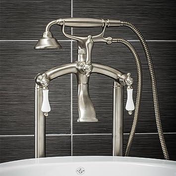 Floor Mounted Bathroom 2 Lever Filler Tap Tub Brushed Nickel Faucet /& Handshower