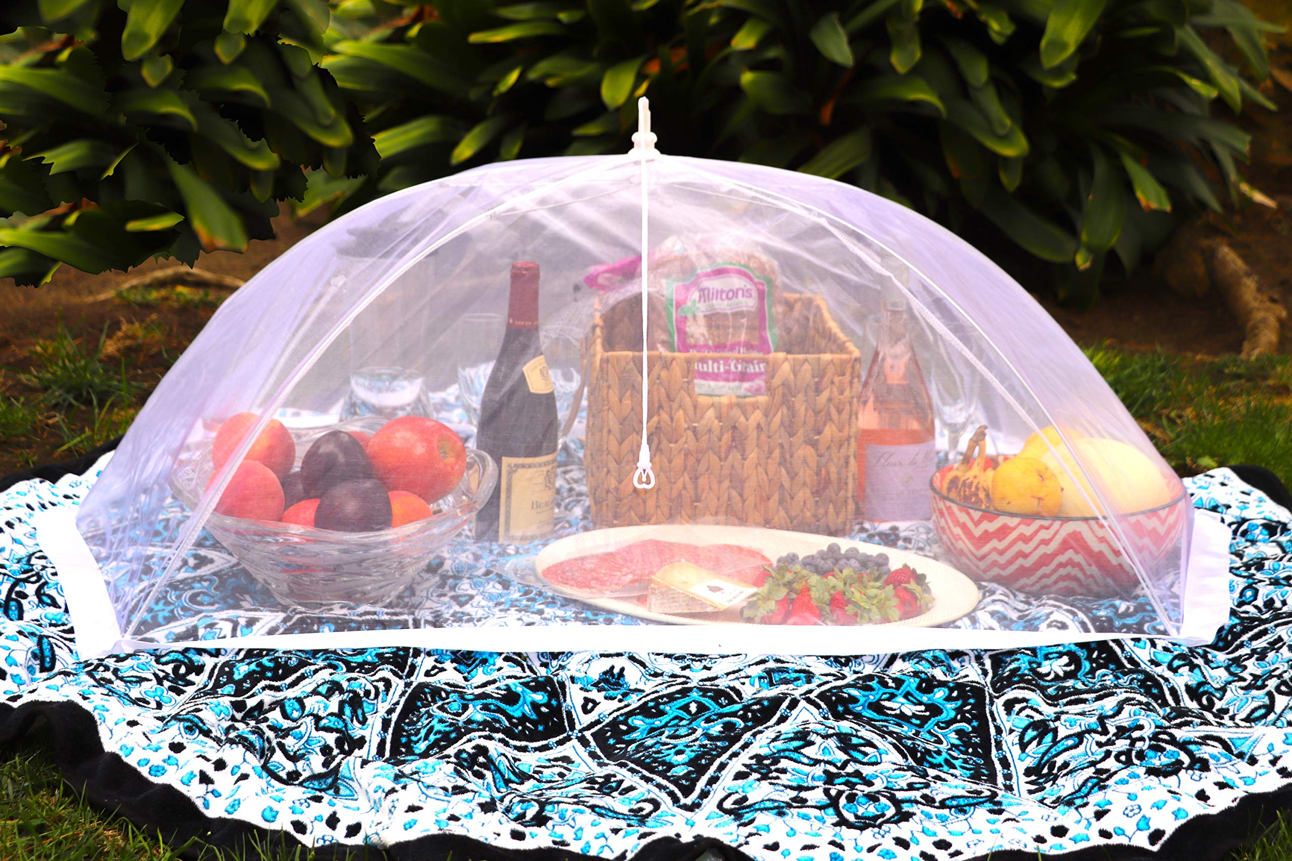 (Set of 2) Zakara 100% Organza Mesh Net Extra Large (49'' x 27'') Food Cover Tents for Picnics and BBQs to Keep Insects, Bugs, and Flies Away | Comes with Nylon Case for Easy Storage & Travel