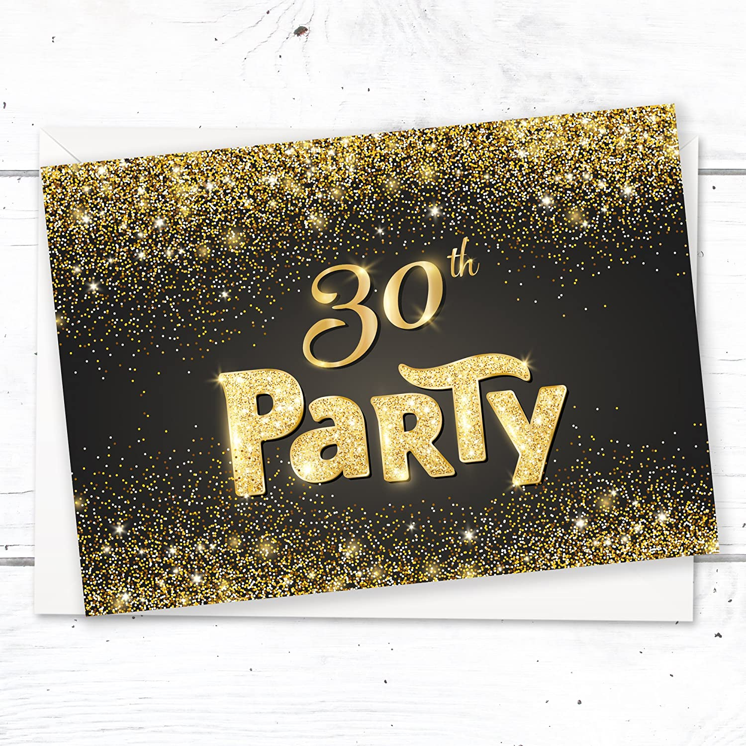 black and gold effect 100th birthday party invitations ready to