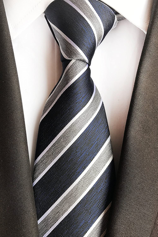 BomGuard Herren Krawatte gestreift kariert Karo-Muster Schlips
