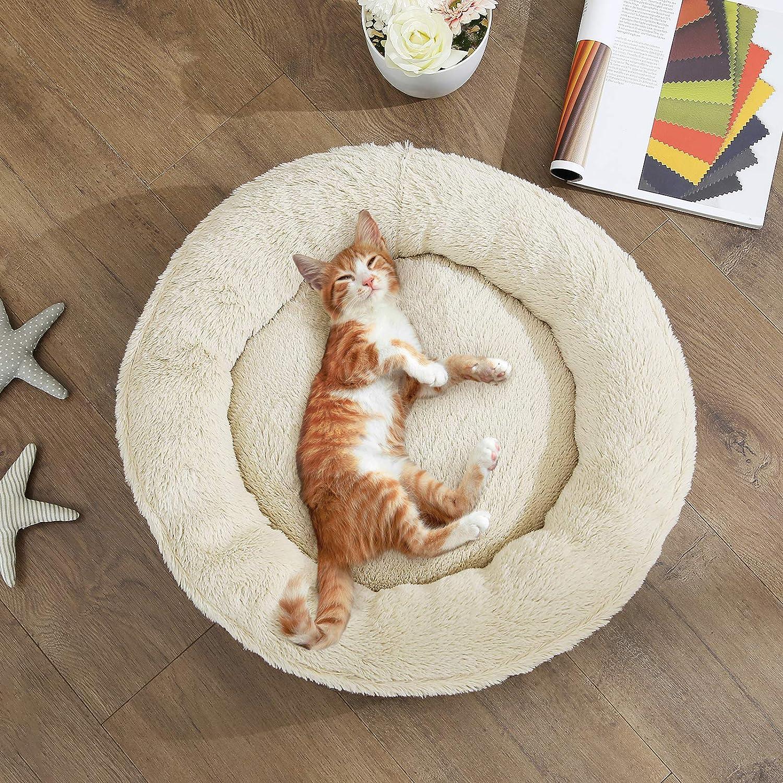 Donut Shape Round Dog Sofa Cat Bed 55 cm Dia Grey PGW55G FEANDREA Dog Bed