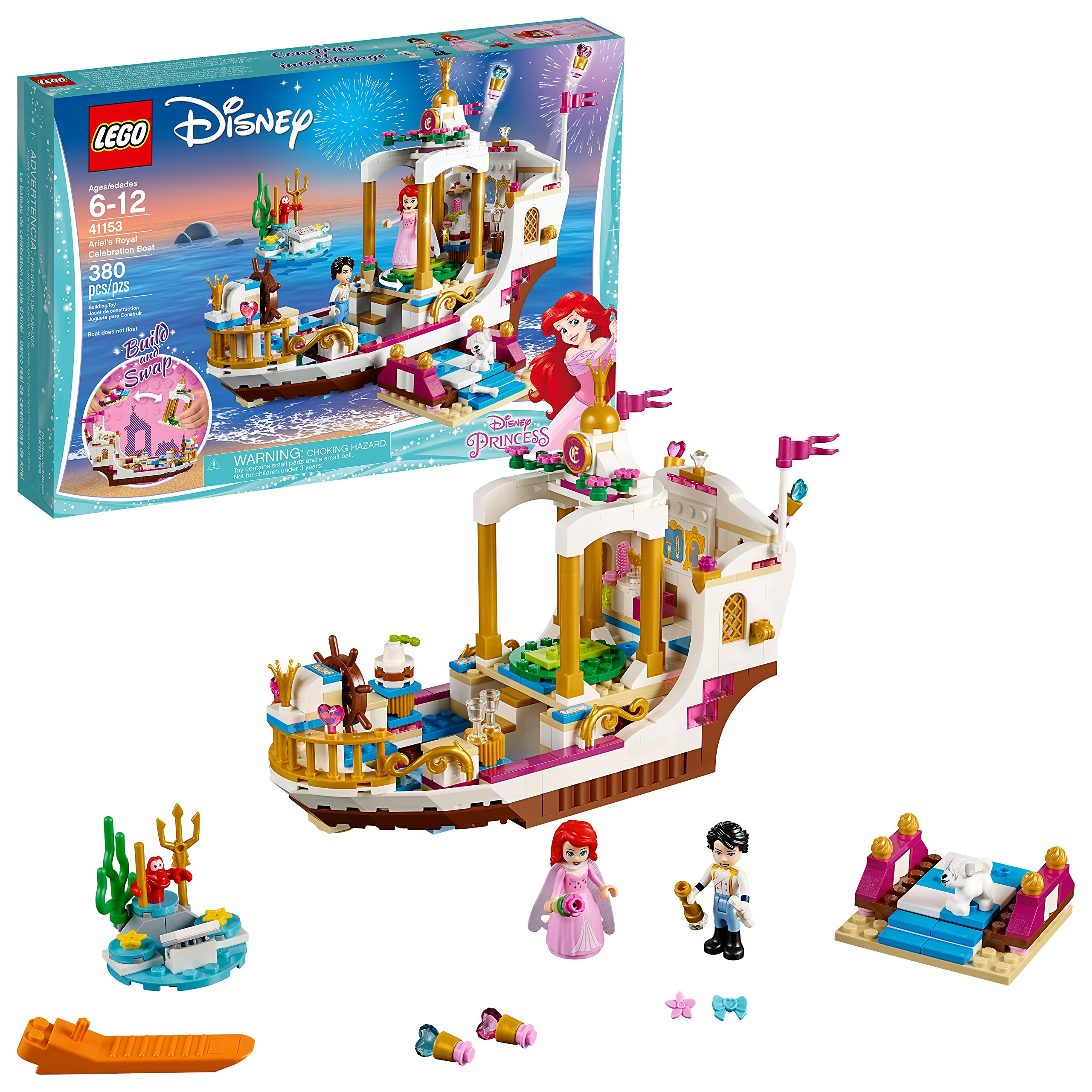 LEGO Disney Princess Ariel's Royal Celebration Boat 41153 Children's Toy Construction Set (380 Pieces) by LEGO