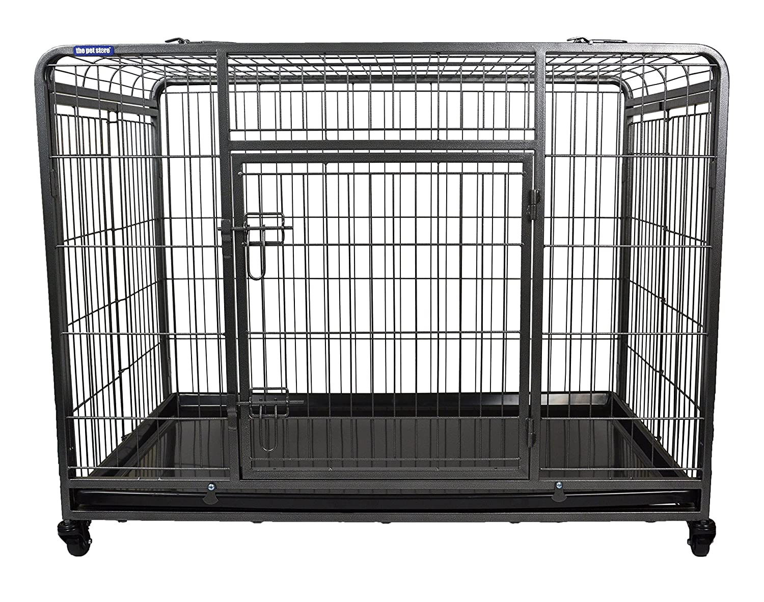 Large The Pet Store Premium Dog Crate with Lockable, Removable Nylon Wheels, Large
