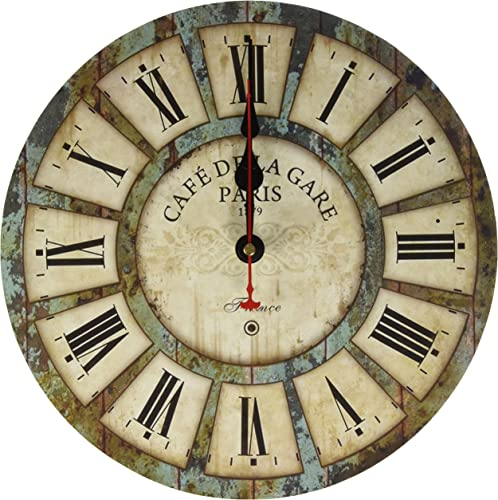 Eruner 12-inch Wooden Clock, Vintage Wood Wall Clock – Cafe De La Gare Retro Style France Paris London Country Non-Ticking Silent Wooden Wall Clock 03