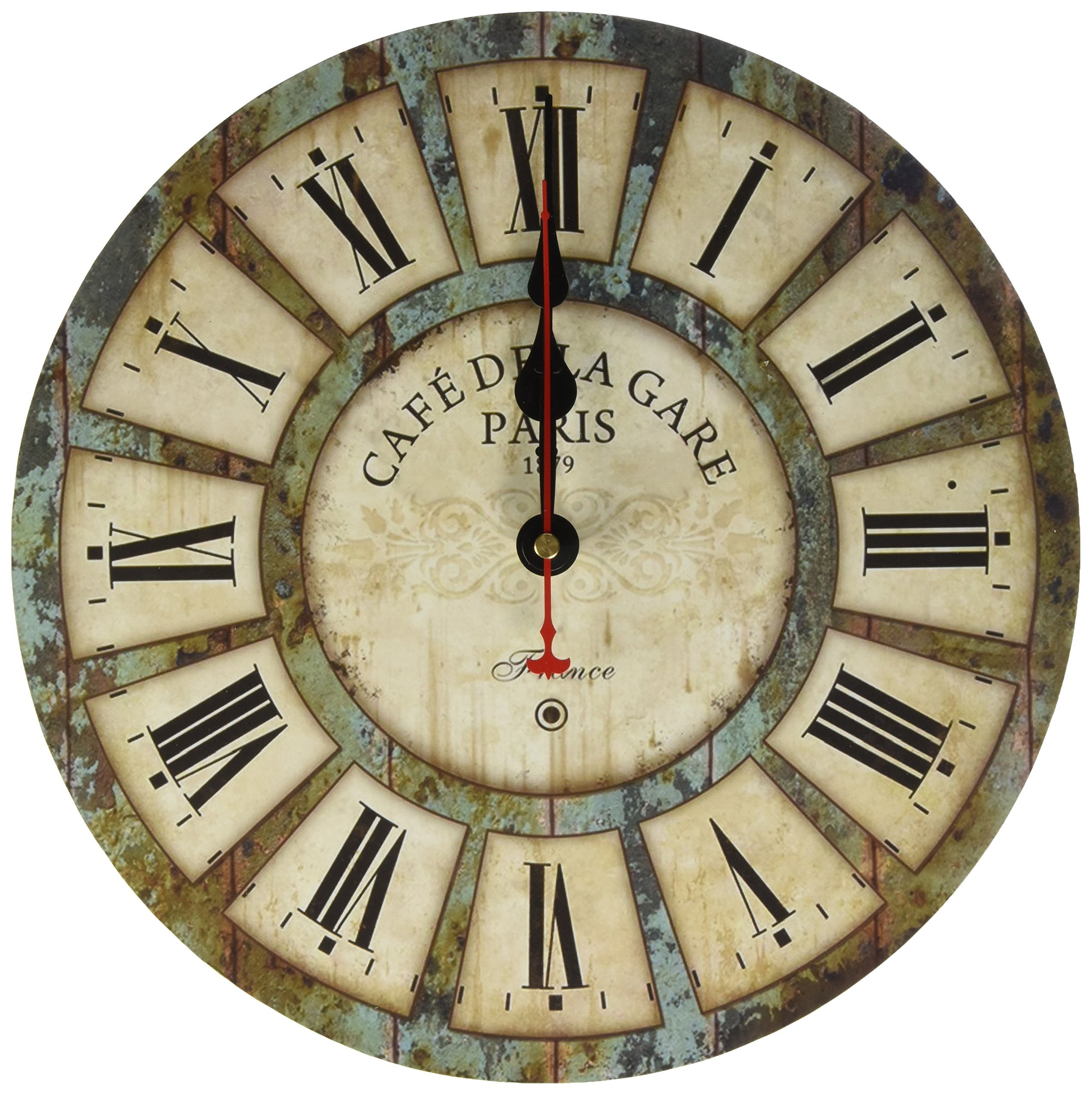 12-inch Wooden Clock, Eruner Vintage Wood Wall Clock - [Cafe De La Gare] Retro Style France Paris London Country Non-Ticking Silent Wooden Wall Clock (#03)
