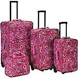 Rockland Impulse 4-Piece Softside Upright Luggage Set, Pink Bandana, (14/19/24/28)