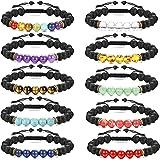 Finrezio 10Pcs Bead Bracelet for Women Men 7 Chakra Oil Stone Diffuser Bracelets Set Aromatherapy Yoga Bracelet 8mm Beaded