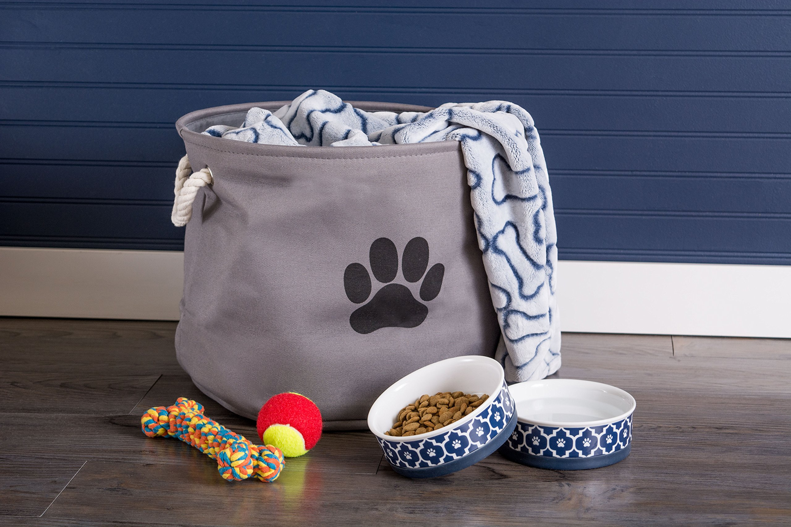 Bone Dry DII Medium Round Pet Toy and Accessory Storage Bin, 14.5''(Dia) x12(H), Collapsible Organizer Storage Basket for Home Décor, Pet Toy, Blankets, Leashes and Food-Gray with Black Paw by Bone Dry (Image #5)