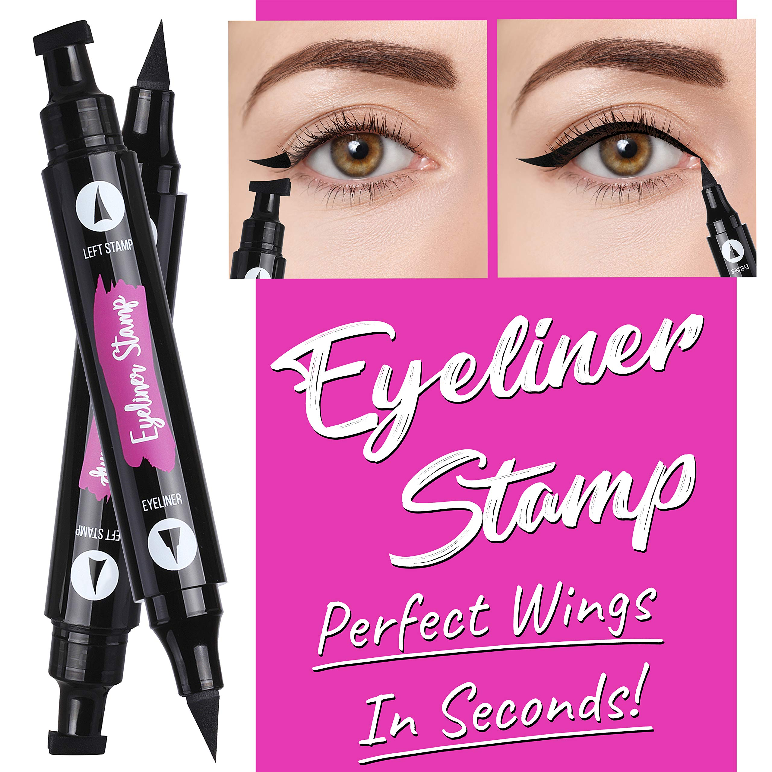Winged Eyeliner Stamp - 2 Pieces (Left & Right) | Double Sided, Matte Black Liquid Eyeliner | Extremely Pigmented, Waterproof, Smudge-Proof | Cruelty Free & Vegan - For Perfect Wings & Cat Eyes