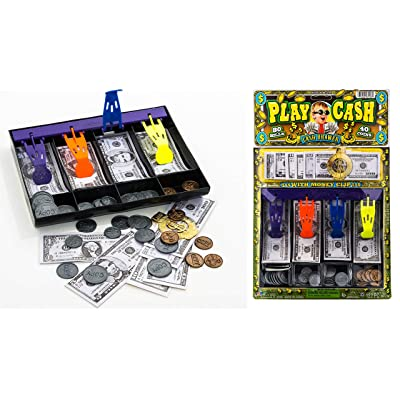 JA-RU Fake Play Money Cashier Drawer Set for Kids Educational Toy Set Cash Register Learn with Realistic Dollars | Item #3123-1A: Toys & Games