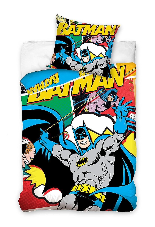 Batman Parure de Lit, Coton, Multicolore, 160x200 + 70x80 cm Carbotex BAT8002