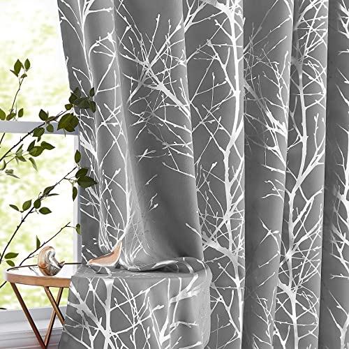 Silver Branch Blackout Curtains Grey