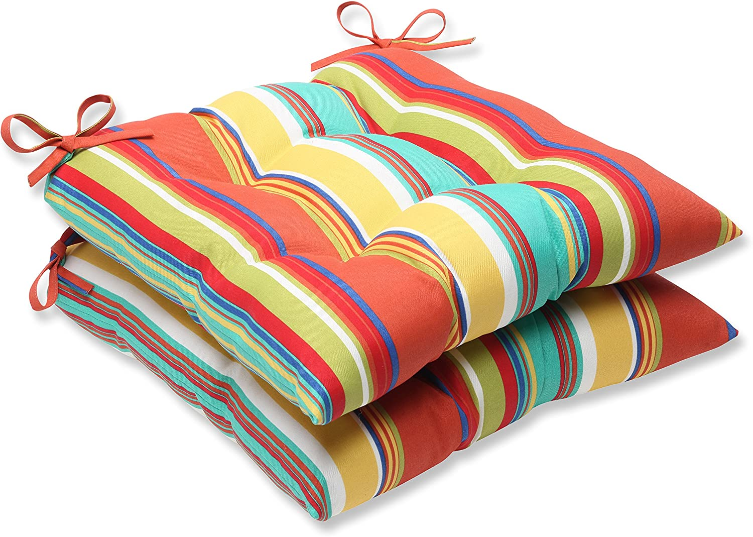 Pillow Perfect Outdoor Westport Spring Wrought Iron Seat Cushion, Multicolored, Set of 2