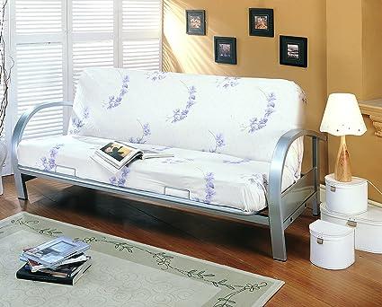Amazon.com: Coaster Transitional Silver Metal Futon Frame: Kitchen ...