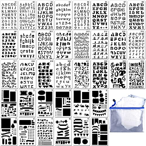 36pcs letter and number stencils diy drawing templates journal stencils with a storage bag for notebook