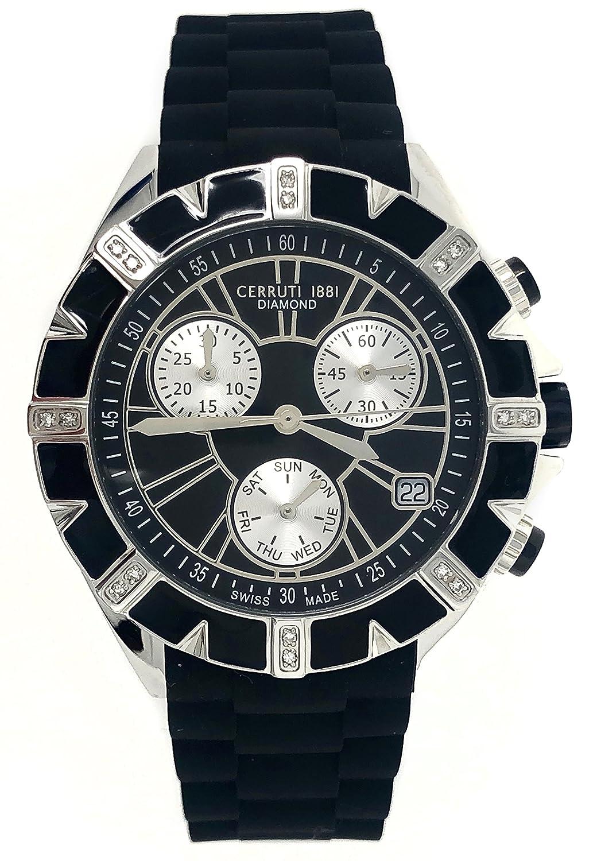 Damen Armbanduhr Schwarz Diamond Watch Cerruti Chronograph pUjSMVGzqL